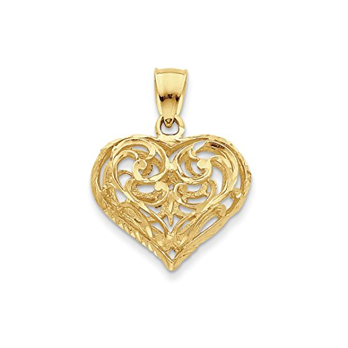 ICE CARATS 14k Yellow Gold 3 D Filigree Heart Pendant Charm Necklace Love Fine Jewelry Gift Set For Women (14k Gold 3d Filigree)