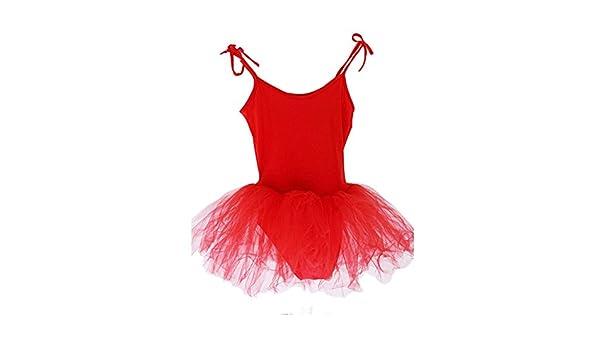 a26cde387 Amazon.com   PANDA SUPERSTORE  RED  Lace Up Plain Ballet Dress Lycra ...