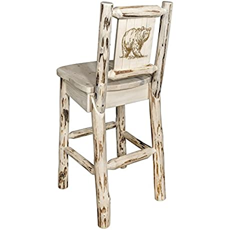Montana Woodworks MWBSWNRVLZBEAR Laser Engraved Bear Design Collection Barstool With Back Clear Lacquer Finish