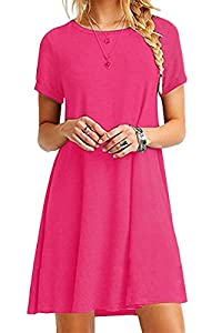 YMING Women's Elegant Dress Loose Fit Dress Flowy Shirt Casual Dress Rose S