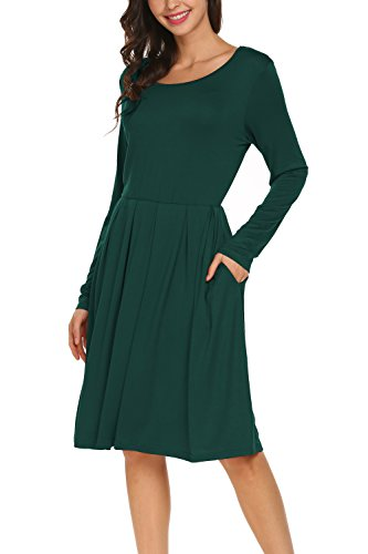 BLUETIME Women Long Sleeve Plain Pleated Casual Swing T-Shirt Dress (XL, Dark - T-shirt Dress Womens Darks