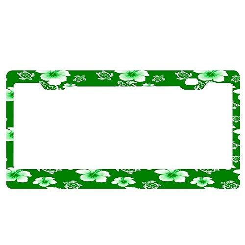 Green and White Tropical Hibiscus Flowers and Turtles Car Licence Plate Covers Holders with Chrome Screw Caps for US ()