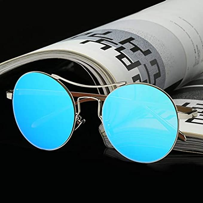 Design Fashion Oversize color Per Rotondi Blue Double Occhiali Da Sole Ploekgda Di Donna Uomo