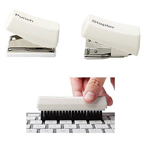 Best-mall Creative 4 in 1 Mini Keyboard Stationary Set- Stapler + Punch + Clip Holder + Keyboard Brush (White)