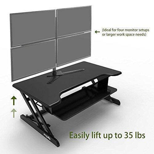 Smugdesk Standing Desk, Stand up Adjustable Desk Riser Converter for Desktop Laptop Dual Monitor by Smugdesk (Image #1)'