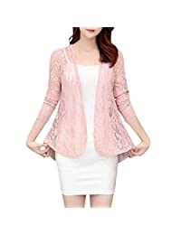SNOWSONG Womens Floral Lace Shrug Long Sleeve Open Front Cardigans Elegant Crochet Cover Up