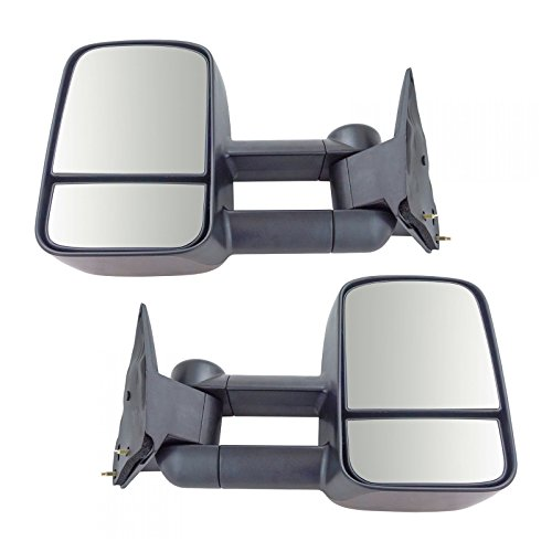 Towing Mirror Manual Textured Black Pair Set for GM C/K Pickup Truck SUV New ()