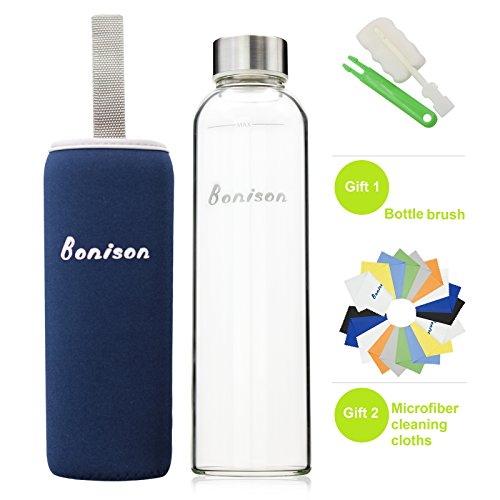 BONISON Stylish High-quality Environmental Borosilicate Glass Water Bottle with Colorful Nylon Sleeve (18oz) (BLUE)