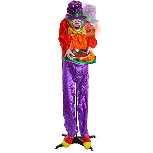 Halloween Haunters Animated 6 Foot Standing Laughing Moving Circus Clown Prop Decoration - Head and Shoulders Lurch Jump Forward, Holds Candy Serving Plate Bowl, Red Eyes Flash, Haunted House Entryway (Creepy Clown Prop)