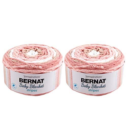 - Bernat Baby Blanket Stripes 2-Pack Coral Bells