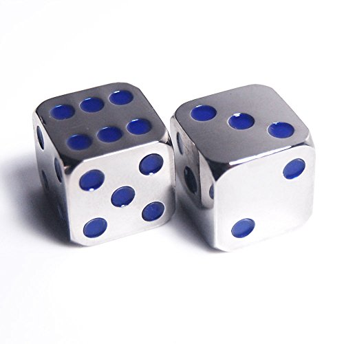 Custom Dice - 2Pcs D6 16mm Metal Alloy Custom & Unique Dice - Highly Polished Premium Edition (Silver body / Deep Blue pips)