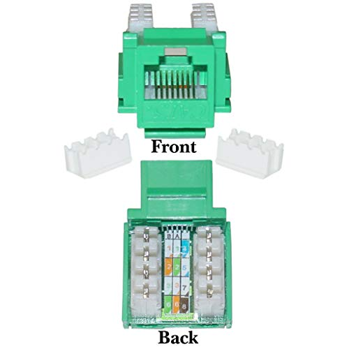 GOWOS (20-Pack) Cat5e Keystone Jack, Green, RJ45 Female to 110 Punch Down