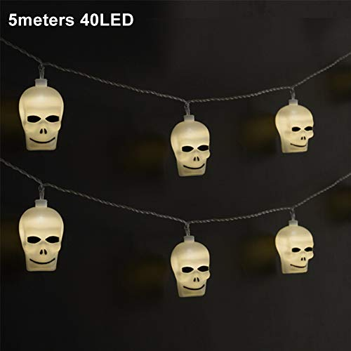 String Lights, 40 LEDs 5M Warm White Waterproof Battery Powered Simulation Skull Decorative String Lights for Halloween, Easter, Christmas, Patio, Lawn, Garden, Party, Holiday Themed -