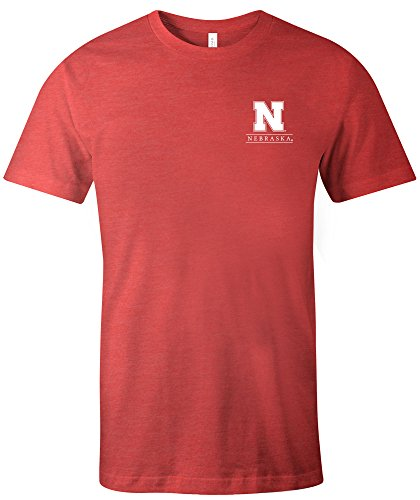 Image One NCAA Nebraska Cornhuskers Adult Unisex NCAA Simple Mascot Short sleeve Triblend T-Shirt,Large,Red