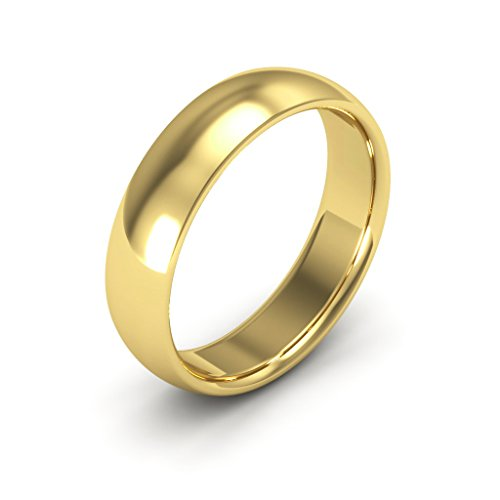 18K Yellow Gold men's and women's plain wedding bands 5mm comfort-fit, 7.25 (Ladies Gold Yellow Wedding Bands)