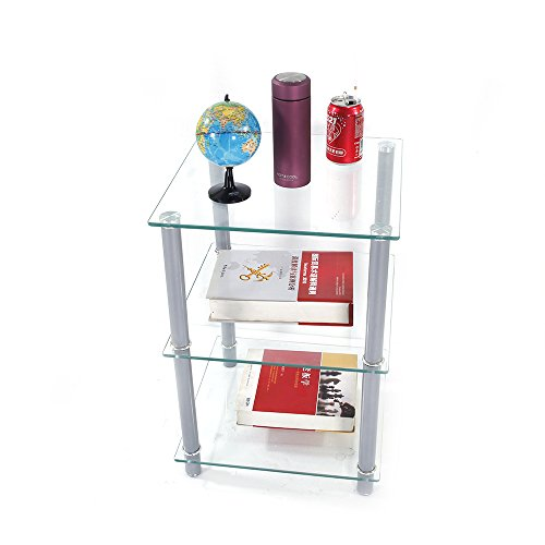 3 Shelf Square Table (FCH Glassy Side Table 3-Tier Free Standing Square End Table Home Office Pedestal Tables,Clear)