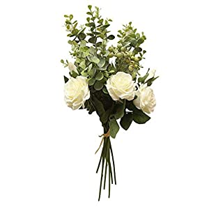 MARJON FlowersArtificial Silk Flower Flannel Flower Floral Gift Deco Bridal Bouquet Wedding Office Party Home Garden Decor Looks Realistic and Beautiful (White&Pink) (White) 63