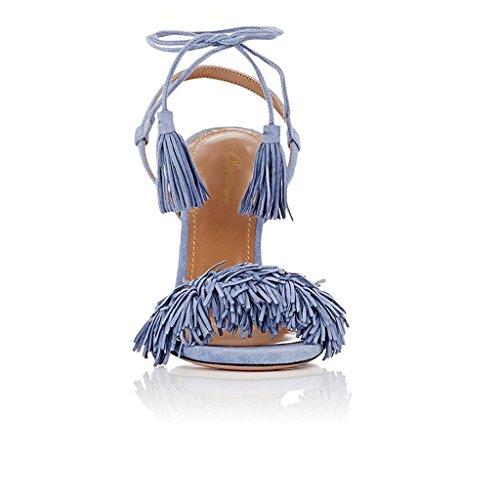 up Slingback with Stiletto Sandals Blue Jayjii Pumps NJPU Heel Lace Tassels Bohemian Light High Nancy P7z4qPn