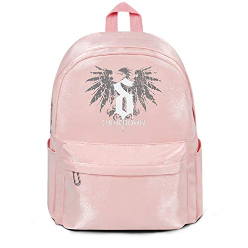 Womens Girl Boys Bag Casual Nylon Water Resistant School Backpack Shinedown-Albums-Logo- College Bookbag Pink