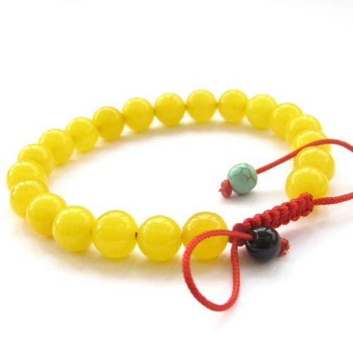 Yellow Jade Tibet Buddhist Prayer Beads Mala Bracelet CaandShop TM