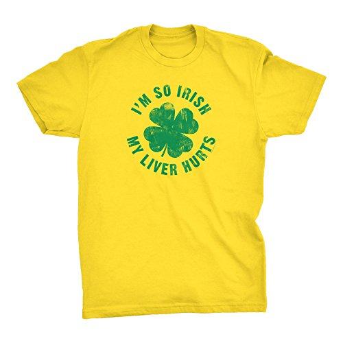 (ShirtInvaders I'm So Irish My Liver Hurts - Funny Irish ST Patricks Day Shirt - Yellow)