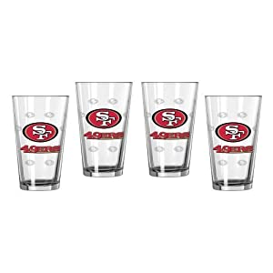 NFL Football Satin Etch Pint Glasses - 16 ounce Beer Glasses, Set of 4 (49ers)