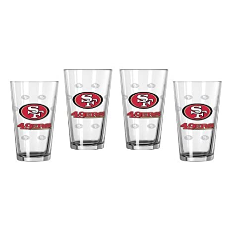NFL Football Satin Etch Pint Glasses - 16 ounce Beer Glasses, Set of 4