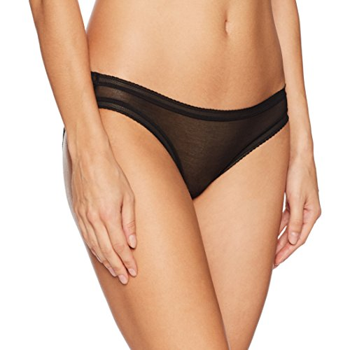 OnGossamer Women's Cotton Mesh Bikini Panty, Black, S