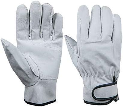 ガーデニング用手袋 ホールドを追加する耐摩耗性保護ピッグスキン手袋ガーデニングギアドライバー乗馬労働作業用手袋ホワイト多目的 園芸 採掘 植栽 枝切り 防護手袋