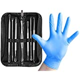 Dr. Gilmore's Blackhead Removal Tools (7 Comedone Extractors) with 20 Pimple Popper Gloves & Leather Case - Ultimate Zit Popping Pack