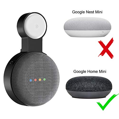 Google Home Mini Wall Mount Holder,Update Space-Saving Design AC Outlet Mount, Perfect Cord Management for Google Home Mini Voice Assistant (1 Pack Black)