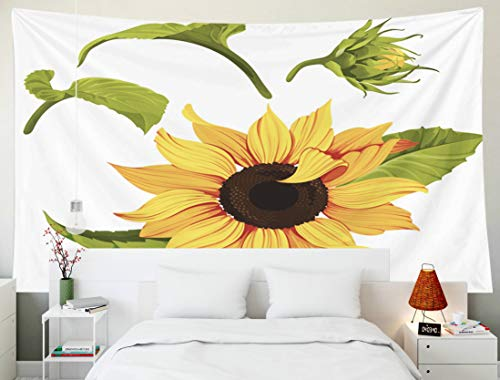 Fullentiart Dorm Tapestry, Wall Hanging Tapestry 80x60inch Sunflower Clip Art Yellow Flower Plant Image Transparent Background Decoration Room Birthday Gift Holiday Décor Tapestries ()