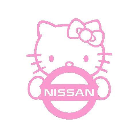 YWS Vinyl Sticker Decal - Hello Kitty Nissan JDM - Sticker Laptop Car Truck Window Bumper Notebook Vinyl Decal SMA5280 (Hello Windshield Kitty Decal)