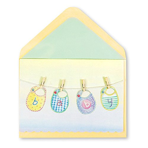 Papyrus Baby Bibs on Clothesline Card -