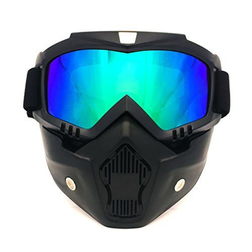 OpetHome Goggles Mask Detachable Motorcycle Snowmobile Ski Goggles Outdoor Paintball Airsoft Mask, - Ski Goggles India