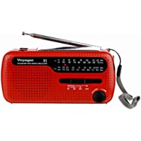 Kaito V1R Voyager Solar/Dynamo AM/FM/SW Emergency Radio with Cell Phone Charger and 3-LED Flashlight, Red