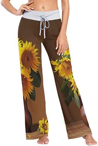HULKBIDBV Pantalones de pijama Sunflower Pantalones cómodos para dormir elásticos para mujer