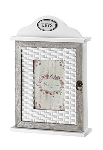 AdirHome Wood Key Cabinet Box (Rattan Accent) - Rattan Accent