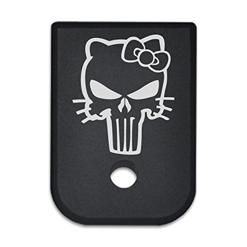BASTION Laser Engraved Mag Butt Plate, Magazine Floor Base Plate for Glock 9mm .357 .40 .45 GAP - HELLO KITTY SKULL