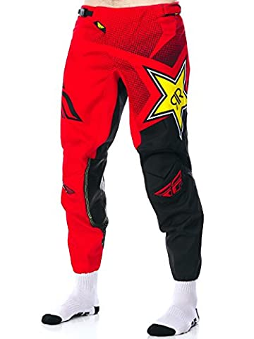 """Fly Racing Rockstar Red-Black 2017 Kinetic Mx Pant (38"""" Waist , Red)"""