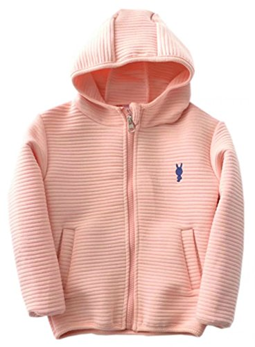 (Betusline Little Boys and Girls Long Sleeve Striped Hooded Jacket Pink,3 Years/110)