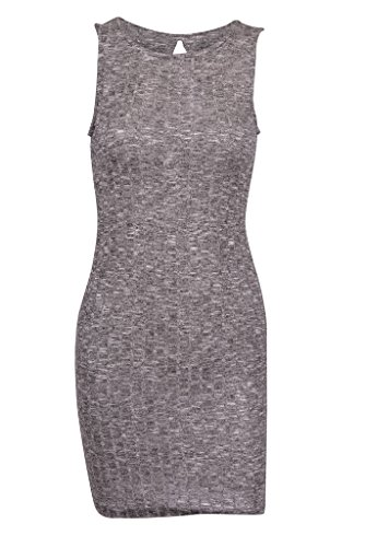 Sexy Ribbed Knit Sleeveless Bodycon Cocktail Stretchy Mini Dress (black, l )