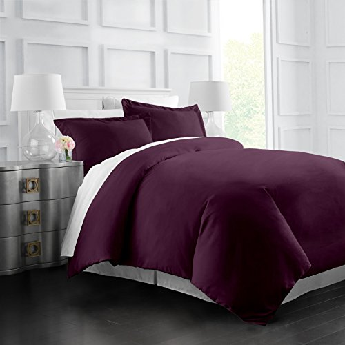 Italian Luxury Soft Brushed 1500 Series Microfiber Duvet Cover Set - Hotel Quality & Hypoallergenic with Zippered Closure & Matching Shams - Full/Queen - Purple (Duvet Purple Queen Full Cover)
