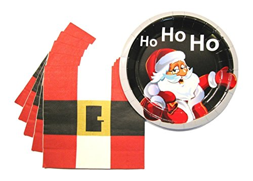 Christmas Party Plates and Napkins - Cute Holiday Party Supplies Pack - Serves 16 - Santa - Macy Warren