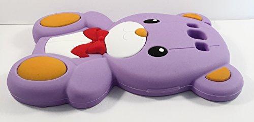 SKS Distribution® púrpura caja suave del silicón del oso del arco lindo estupendo para Samsung Galaxy S3 I9300
