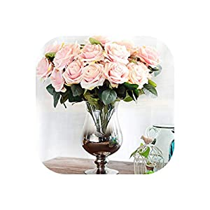 10 Heads Rose Artificial Flower French Silk Flower Rose Bouquet for Wedding Home Party Decoration Fake Flower Fall Decoration 25