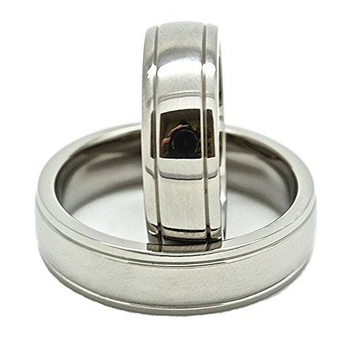 - Blue Chip Unlimited Matching 6mm Double Grooved Polished Titanium Wedding Rings (See Listing for Sizes)