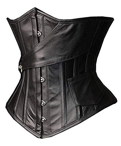 SHAPERX Camellias Womens Faux Leather Steampunk Gothic Steel Boned Underbust Waist Training Corsets Plus Size up to 5XL,SZ1866-Black-L -