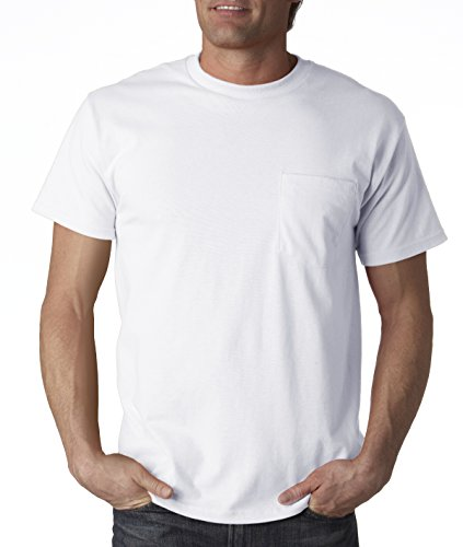 Pocket T-shirts Loom (Fruit of the Loom mens 5 oz. 100% Heavy Cotton HD Pocket T-Shirt(3931P)-WHITE-L)