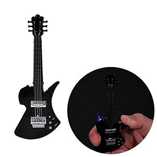 Guitar Lighter (Black or Red Metal Windproof Guitar Lighter Refillable - One Lighter (BLACK))